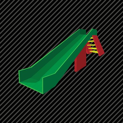 cartoon, green, plastic, play, playground, slide, stairs icon