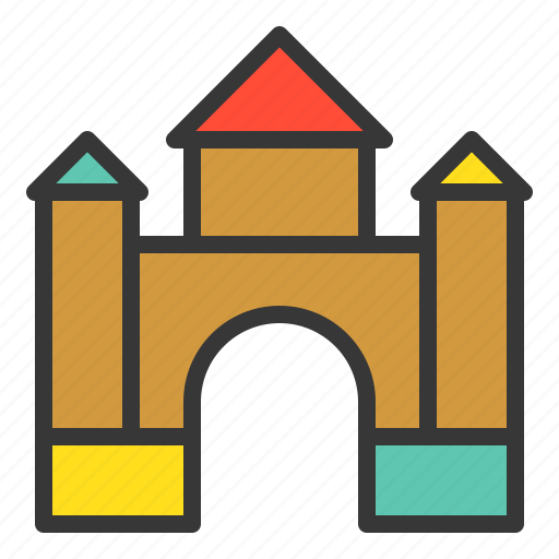 block, blocks castle, castle, outdoors, play, playground, playground equipment icon