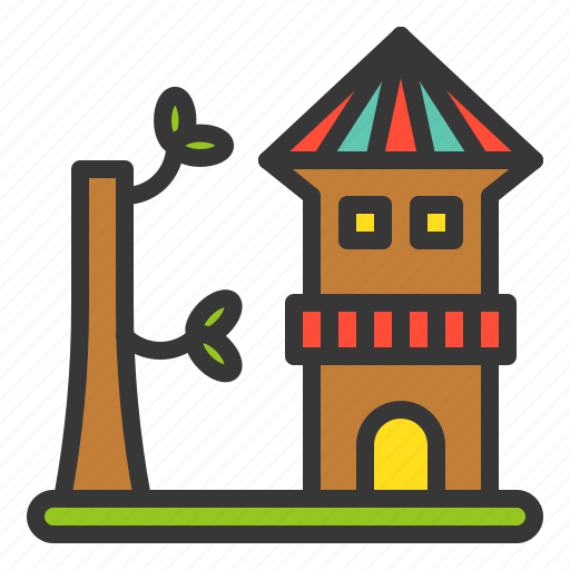 Outdoors, play, playground, playground equipment, tree house, wooden house icon - Download on Iconfinder