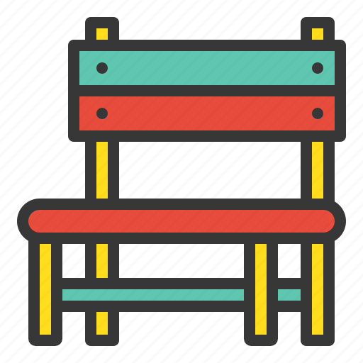 Chair, outdoors, playground, playground equipment, wooden chair, bench icon - Download on Iconfinder