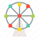 amusement ride, ferris wheel, outdoors, play, playground icon