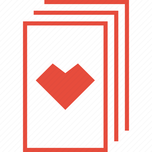 card, casino, gambling, game, heart, playing cards, stack icon