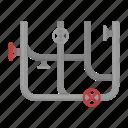 design, meter, pipe, plumbing, pressure gauge, system, valve icon
