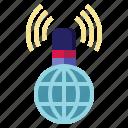 globe, microphone, conversation, communications, streaming