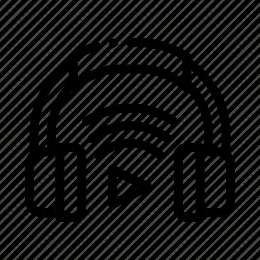 device, headphones, host, play icon