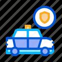 car, machine, police, round, shield