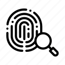 dactylogram, fingerprint, magnifier icon