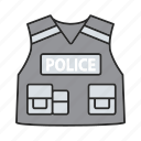 bulletproof, officer, police, policeman, protective, tactical, vest icon