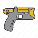 electroshock, gun, officer, police, policeman, taser, weapon icon