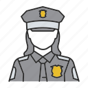 cop, officer, police, policeman, policewoman, woman icon