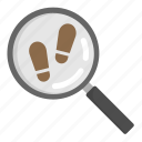 case, crime, footstep, magnifier, police icon