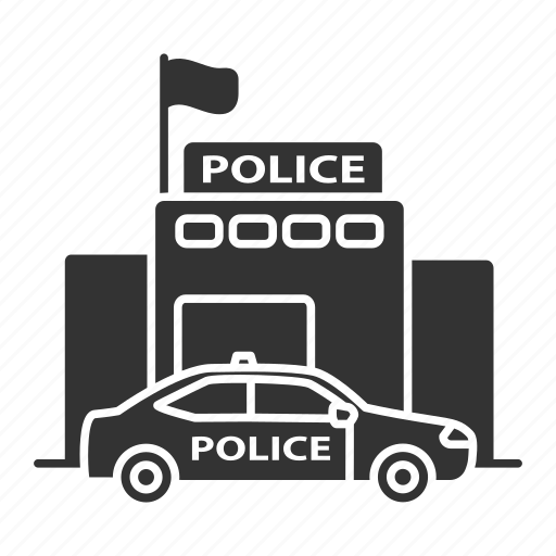 building, car, department, police, policeman, station, vehicle icon