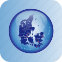 denmark, denmark regional borders, europe, map, maps icon