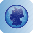 europe, germany, germany regional borders, map, maps icon