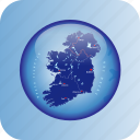 europe, ireland, ireland regional borders, map, maps icon