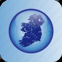 europe, ireland, ireland regional borders, map, maps icon