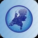 europe, map, maps, netherland, netherlands regional borders icon