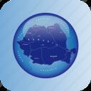 europe, map, maps, romania, romania regional borders icon