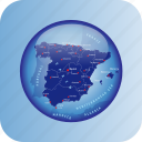 europe, map, maps, spain, spain regional borders icon