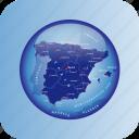 europe, map, maps, spain, spain regional borders icon