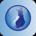 europe, finland, finnland regional borders, map, maps icon