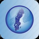 europe, map, maps, sweden, sweden regional borders icon