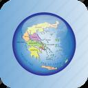 europe, european, greece, greece regions, map, maps icon