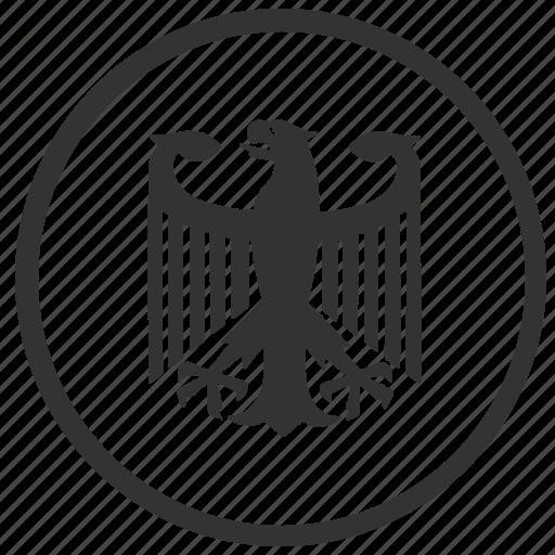 bundestag, eagle, germany, organization, round icon