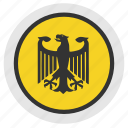 bundestag, eagle, politics, round, sign icon