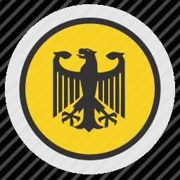 bundestag, eagle, politics, round, sign icon