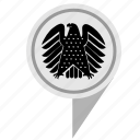 bundestag, eagle, geo, location, map, pointer icon