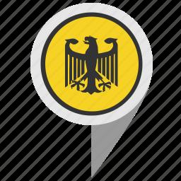 bundestag, eagle, geo, location, map, pointer icon