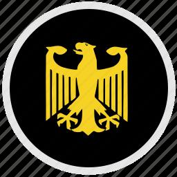 bundestag, eagle, germany, round icon