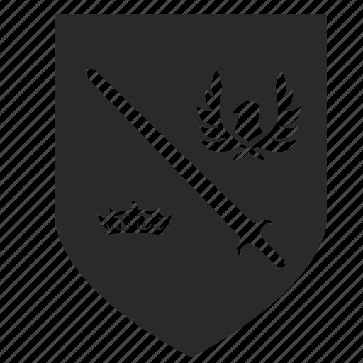 crown, politics, shield, sign, sword icon