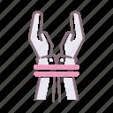 coercion, hand, rope icon