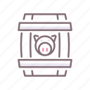 barrel, container, pork icon