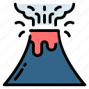 ecology, eruption, lava, mountain, natural disaster, pollution, volcano icon