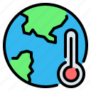 earth, ecology, global warming, pollution, temperature, thermometer, world icon