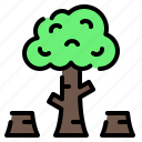deforestation, ecology, forest, logging, pollution, tree, wood icon