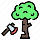 axe, deforestation, ecology, forest, logging, pollution, tree icon