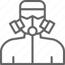 avoid, danger, gas, man, mask, pollution, sign icon