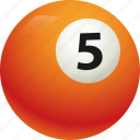 ball, ball five, billiard, pool icon