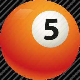 ball, ball five, billiard, pool icon