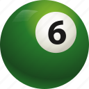 ball, ball six, billiard, pool icon