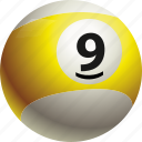 ball, ball nine, billiard, pool icon