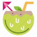 coconut, drink, fresh, fruit icon