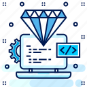 best, quality, code, diamond, clean icon