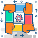 management, organization, structure, team, team building, team work, teamwork icon