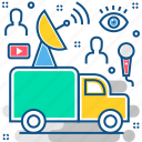 broadcasting, delivery, transport, van, vehicle icon