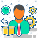 delivery, manager, package, product, shipping, transportation icon